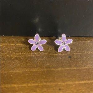 Kids Purple Flower Earrings